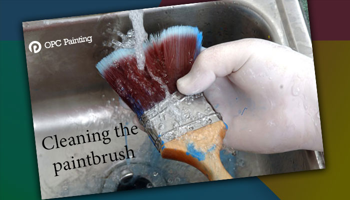 cleaning the paintbrush